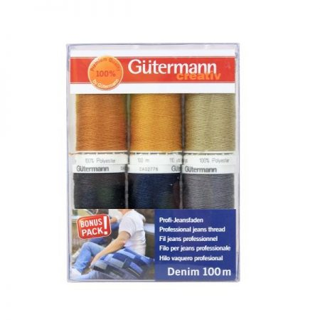 Gutermann naaimachinegaren assortiment Jeans. 6 klosjes