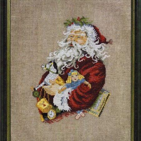 Permin Borduurpakket linnen Santa Claus Rocking Horse. Kerstman