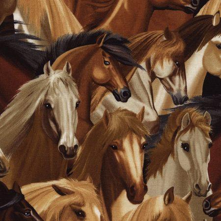 Quiltstof katoen paarden C4562. Merk: Timeless Treasures.