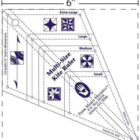 Marti Michell 8158 Multi Size Kite Ruler Liniaal. Kite snijden in 4 maten.