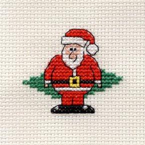 Mouseloft Borduurpakket Kerstkaart Santa Kerstman A34stl