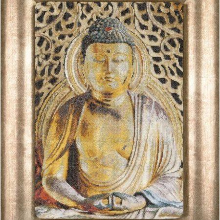 Thea Gouverneur Borduurpakket Aida Buddha 532. Mediterende Buddha