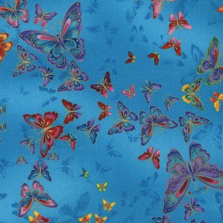 Quiltstof katoen metallic vlinders CM2406. Goud metallic opdruk