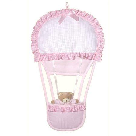 Beer in luchtballon roze. Een prachtig kraamcadeau voor een meisje.