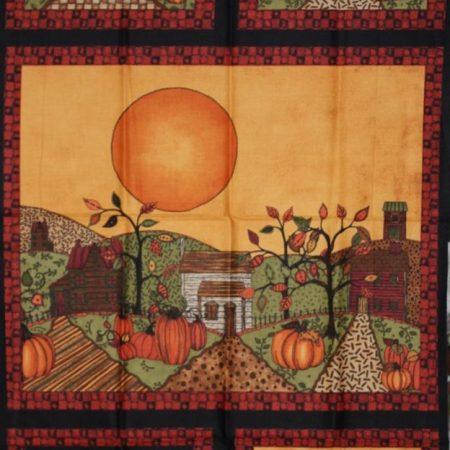 Quiltpanel Halloween staand. Afmeting: 110x60 cm. Stof: 100% katoen