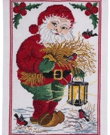 Permin Borduurpakket Aida Old Santa Claus Kerstman met lantaarn