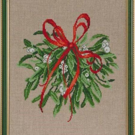 Permin Borduurpakket linnen Mistletoe 70-6216. Borduurpakket kersttijd