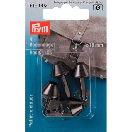 Tasvoetjes van het merk Prym. Het betreft een set van 4 stuks. Het maateriaal is metaal. De kleur is Antiek Zilver. De hoogte van de tasvoetjes is: 15 mm.
