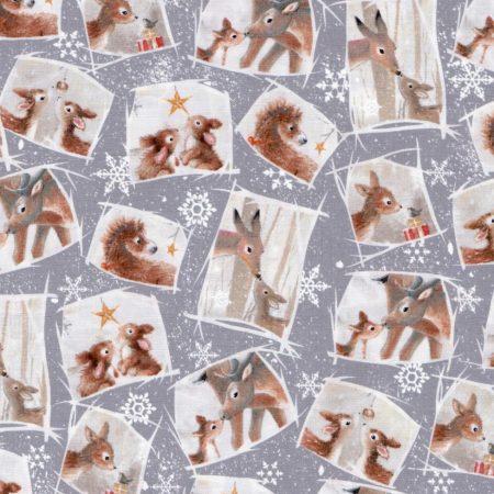 Quiltstof hert, konijn en ezel kerst 24523-K. Merk: Quilting Treasures.