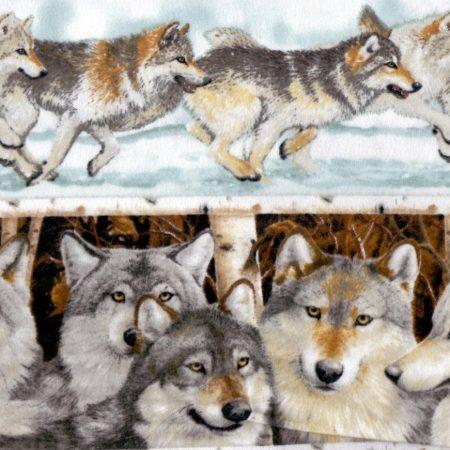 Quiltstof katoen flanel wolven randstof F20926. Merk: Northcott