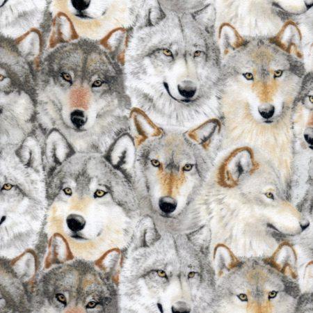 Quiltstof katoen flanel wolven F20927. Merk: Northcott. Serie: Dieren