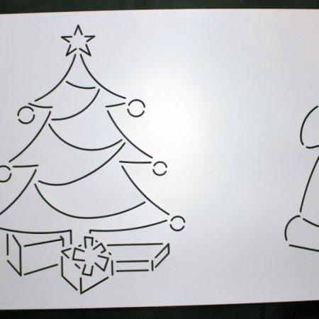 bevat een motief van een kerstman en een kerstboom. De motieven zijn 28 cm hoog.