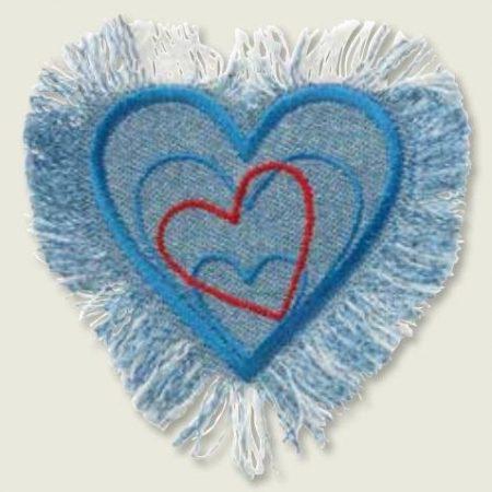 Strijkapplicatie jeans hart 06103. Geborduurd. Verschillende harten in 1