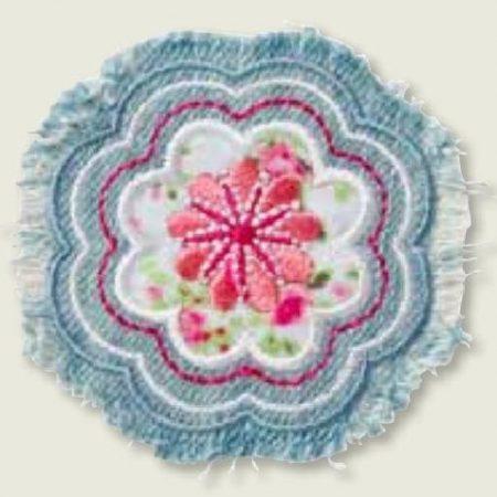 Strijkapplicatie van een mooie Jeans bloem in verschillende kleuren.