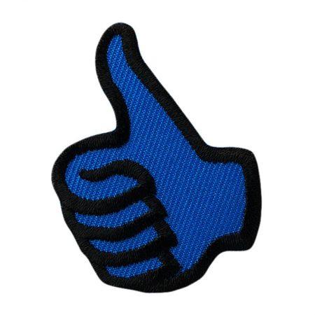 Strijkapplicatie duim blauw 04232. Geborduurd. Duim omhoog