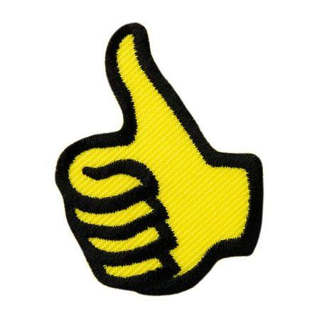 Strijkapplicatie duim geel 04231. Geborduurd. Duim omhoog