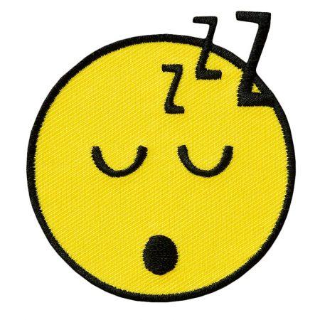 Strijkapplicatie Smiley slapend 14535. Geborduurd. Diameter: 6 cm