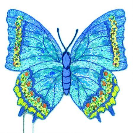 Strijkapplicatie vlinder blauw 14483. Geborduurd. Met glansgaren