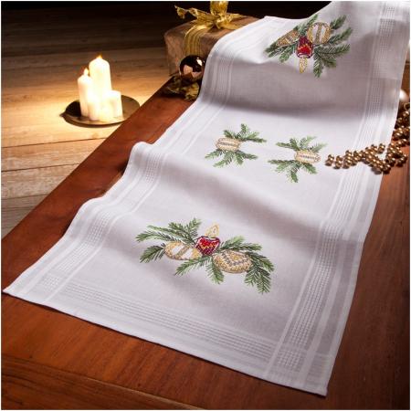 Deco-line kerst tafelloper voorbedrukt katoen 20-011. Afm.: 40 x 100 cm