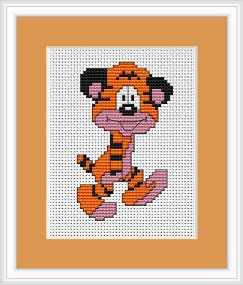 Luca-S 043 Beginners borduurpakket op Aida stof van een tijger