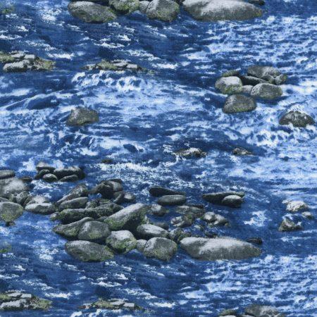 Quiltstof katoen Landschap water met stenen 4953. Verkoop per 25 cm