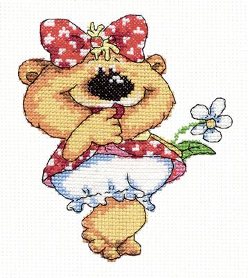Chudo Igla 26-01 borduurpakket uittellen op aida vrolijke beer