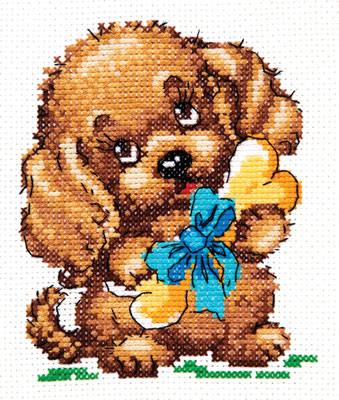 Chudo Igla 18-47 borduurpakket uittellen op aida hondje met bot