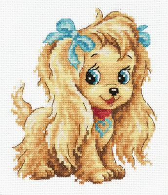 Chudo Igla 16-19 borduurpakket uittellen op aida hondje