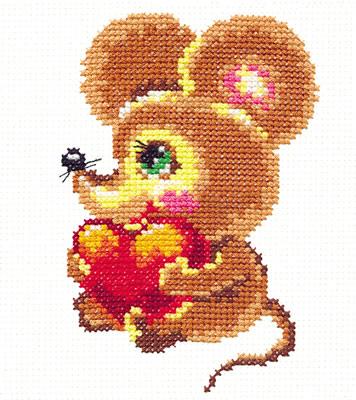 Chudo Igla 18-17 borduurpakket uittellen op aida muis met hart
