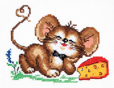 Chudo Igla 18-56 borduurpakket uittellen op aida muis