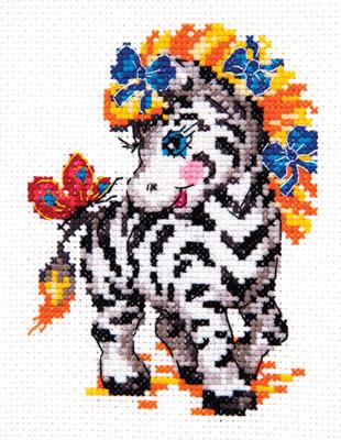 Beginner borduurpakket. Chudo Igla. Onderwerp: Een zebrapaardje.