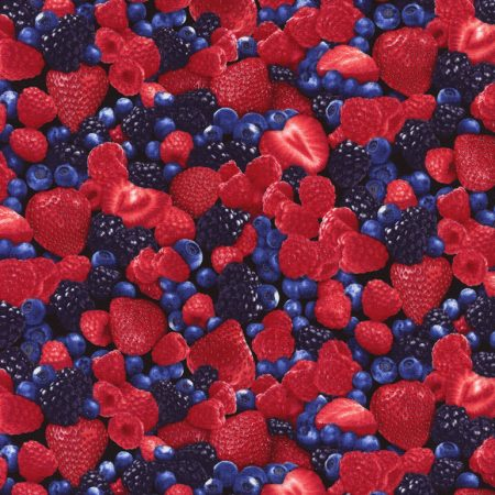 Quiltstof katoen Aardbeien en bessen 1811. Merk: Timeless Treasures