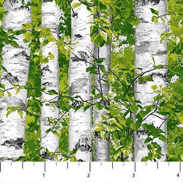 Quiltstof Katoen Northcott Serie Naturescapes Onderwerp Berkenstammen