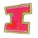 Strijkapplicatie Alfabet Fun letter I. Geborduurd. In de Fun stijl.