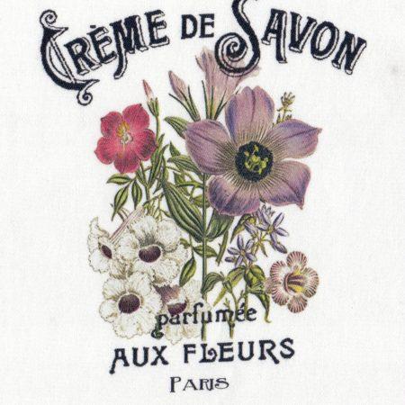 Quiltblok Créme de Savon. Geprinte afbeelding op katoen