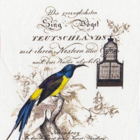 Quiltblok Sing vogel Teutschlands. Geprinte afbeelding op katoen
