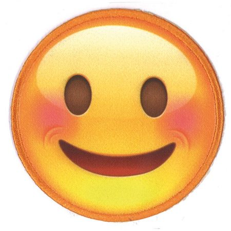 Strijkapplicatie Smiley geprint 10151. Met geborduurde rand