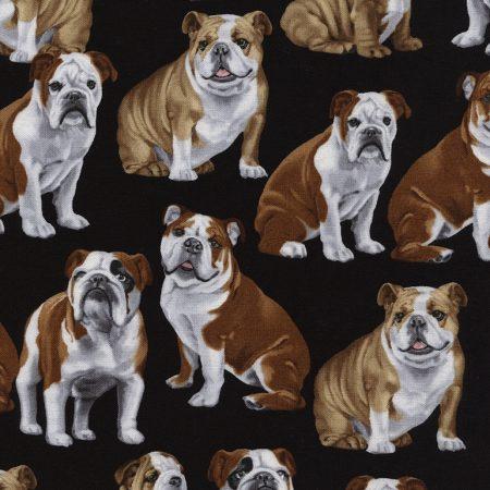 Quiltstof katoen Honden Buldog 4891. Merk: Timeless Treasures. Honden