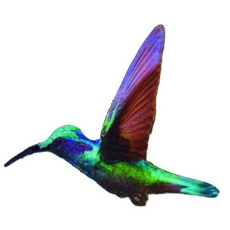 Strijkapplicatie kolibri 36024. Geborduurd met glansgaren. Afm.: 9 x 7 cm.