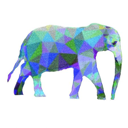 Strijkapplicatie olifant prisma 36012. Afmeting: 5,5 x 8 cm.