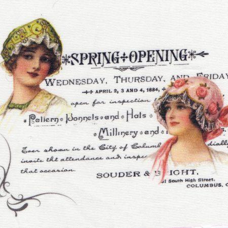 Quiltblok Spring Opening. Geprinte afbeelding op gebroken wit katoen