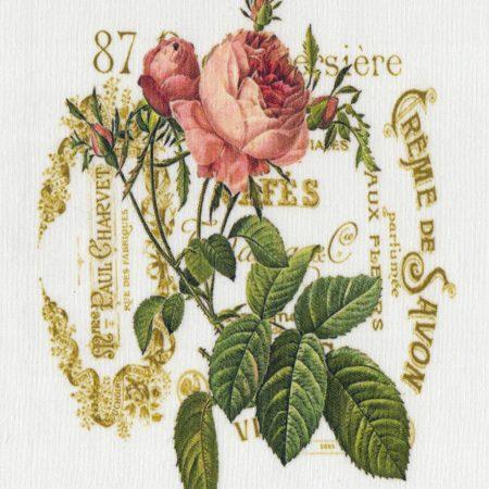 Quiltblok Creme de Savon roos. Geprinte afbeelding. Gebroken wit katoen
