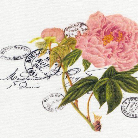 Quiltblok Carte Postale roos. Geprinte afbeelding op gebroken wit katoen