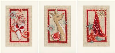 Vervaco Borduurpakket Aida set van 3 kerstkaarten PN-0154080