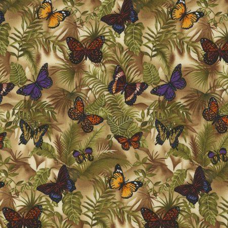 Quiltstof katoen Vlinders 5319. Timeless Treasures. Serie: Dieren. Vlinders