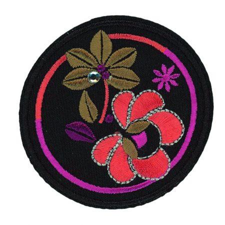 Strijkapplicatie zwarte cirkel met bloemen 35996. Geborduurd glansgaren