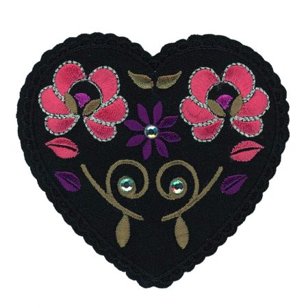 Strijkapplicatie zwart hart met bloemen 35994. Afmeting: 8 x 7 cm.