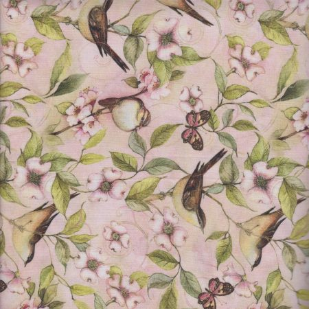Quiltstof katoen Rose Divine Bird on Vine CP62656.