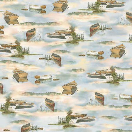 Quiltstof katoen Bootjes op het water 26391. Merk: Quilting Treasures