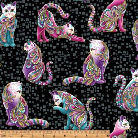 Quiltstof katoen Catitude Artist Cats metallic 4201M. Goud metallic opdruk.